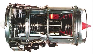 AE-06-JT8 Турбовентиляторный двигатель JT8D в разрезе